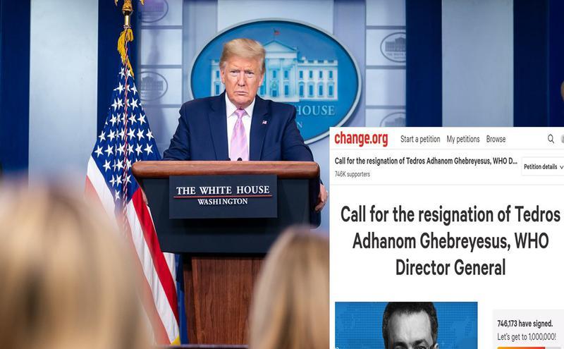 美国总统川普在白宫新闻发布会。