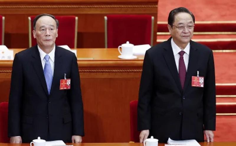2017年两会上的王岐山和俞正声(图片来源:Getty Images)