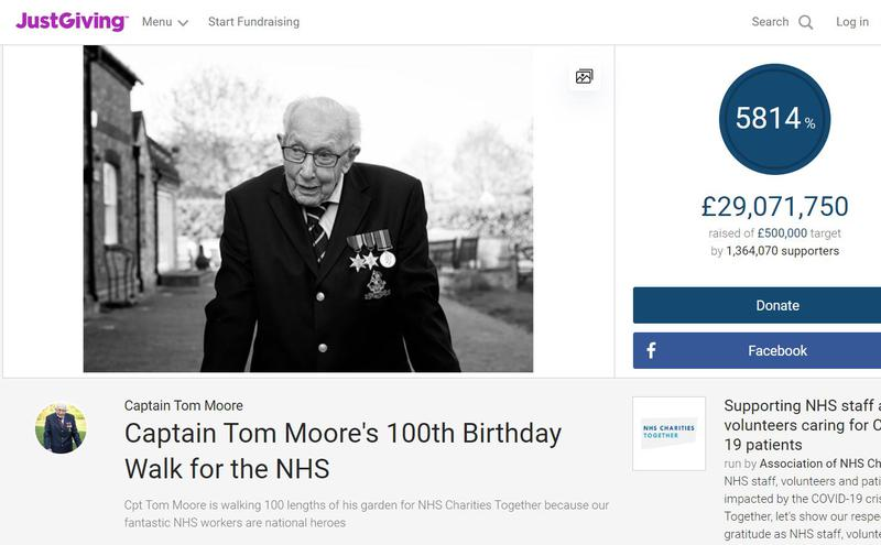 摩尔已为国家医疗保健服务(NHS)医护募款超过2900万英镑。