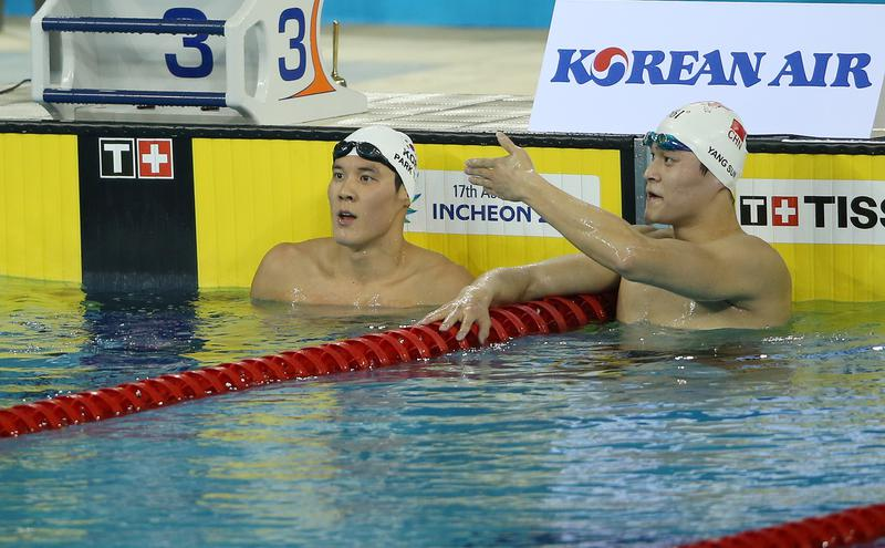 2014仁川亚运会右边为孙杨(图片来源:Korea.net,wiki,CC BY-SA 2.0)