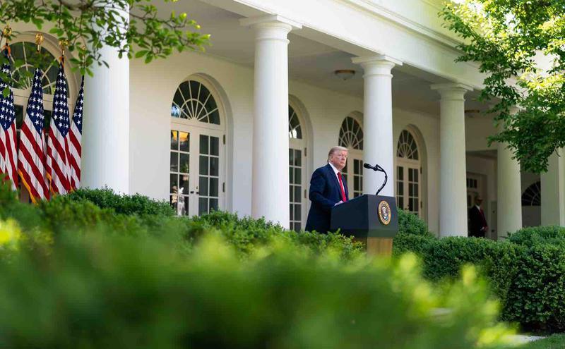 总统川普日前于白宫发表谈话。(图片来源:白宫脸书)