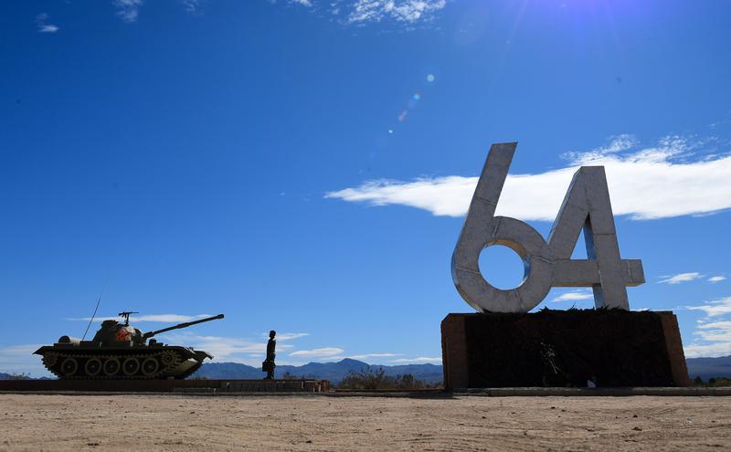 雕塑家陈伟铭于创作的1989年天安门屠杀纪念纪念碑。