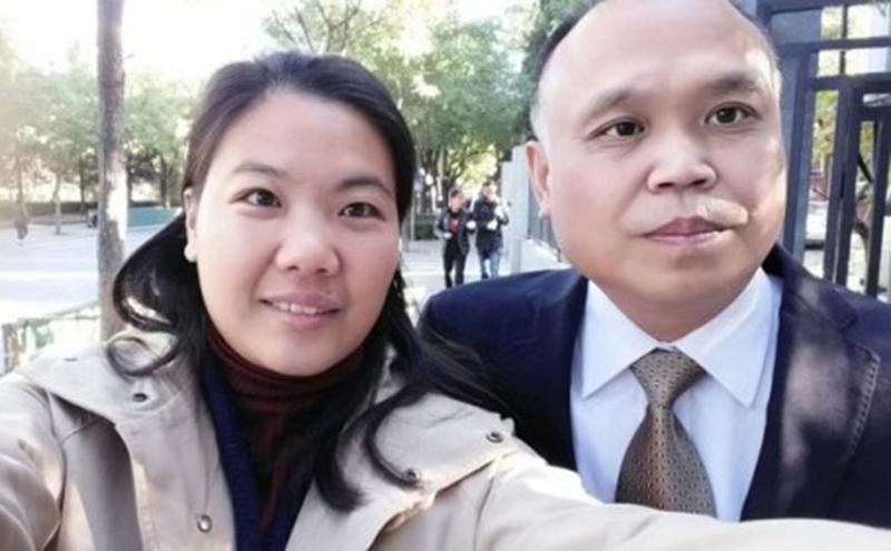 中国维权律师余文生被判4年。图为余文生夫妻(图片来源:自由亚洲)