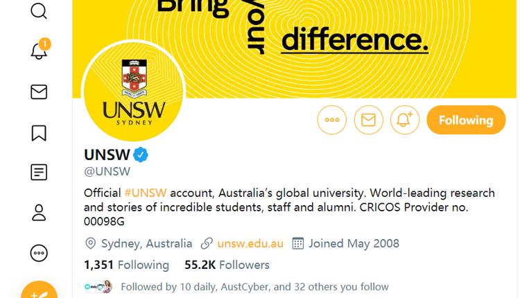 新南威尔士大学官方推特
