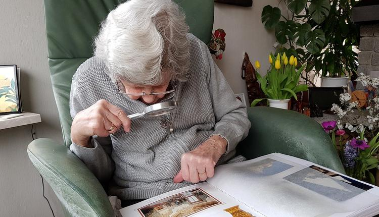 老人,养老,看书,老花镜