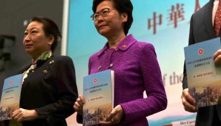 林郑(右)与郑若骅(左)于7月1日手持港区国安法复件合影