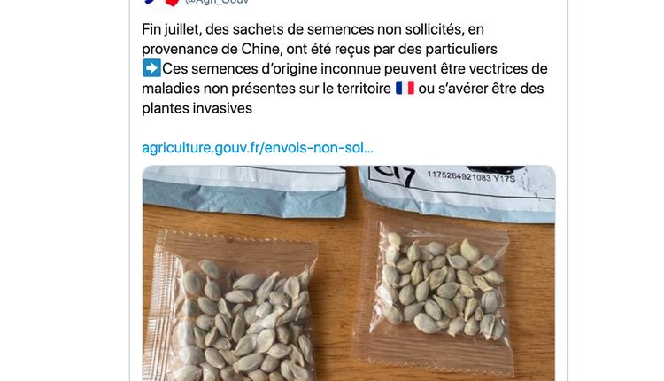 法国农业部推文表示有来自中国的不明种子