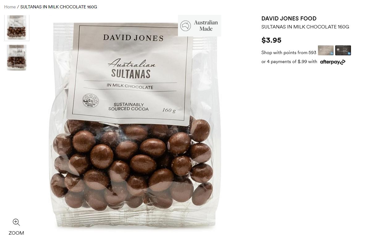David Jones一款160克的Australian sultanas in milk巧克力被紧急召回