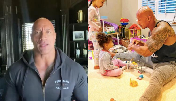 演员巨石强森和他的两个女儿