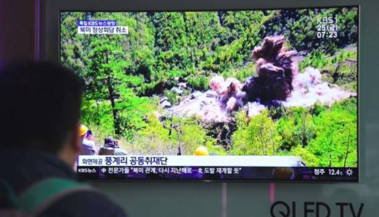 韩国电视节目正在播放朝鲜核试验的画面
