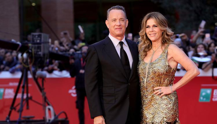 美国好莱坞明星汤姆·汉克斯(Tom Hanks)和妻子丽塔·威尔逊(Rita Wilson)