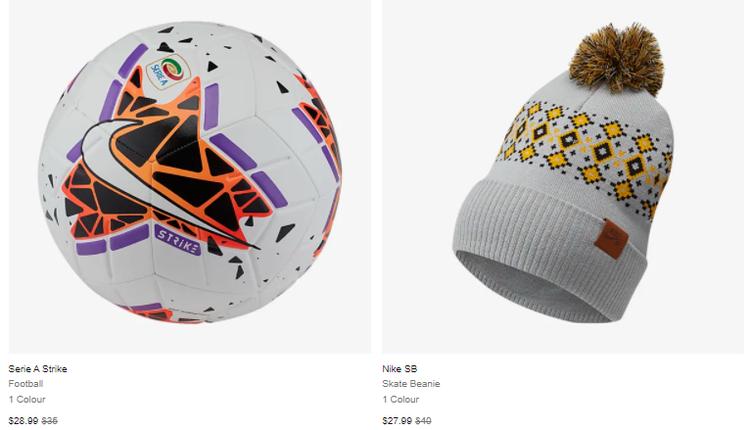 Nike帽子、手套、足球和书包等也有折扣