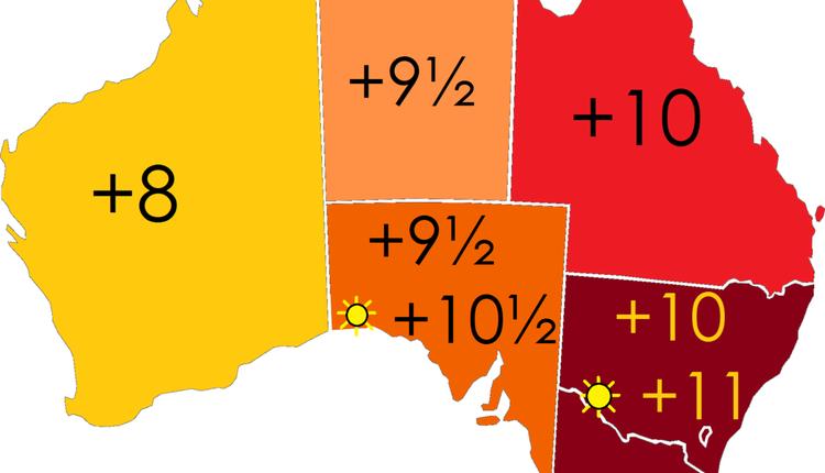 澳洲不用夏令时的时区