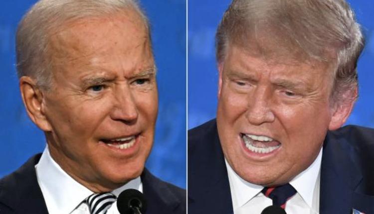 2020美国总统大选首场辩论会,9月29日的拜登(左)、川普(右)