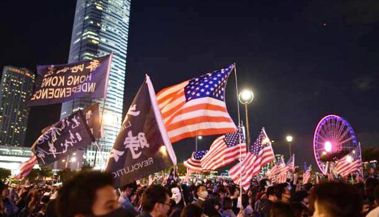 2019年11月28日于香港中环民众感谢美国通过《香港人权与民主法案》集会现场