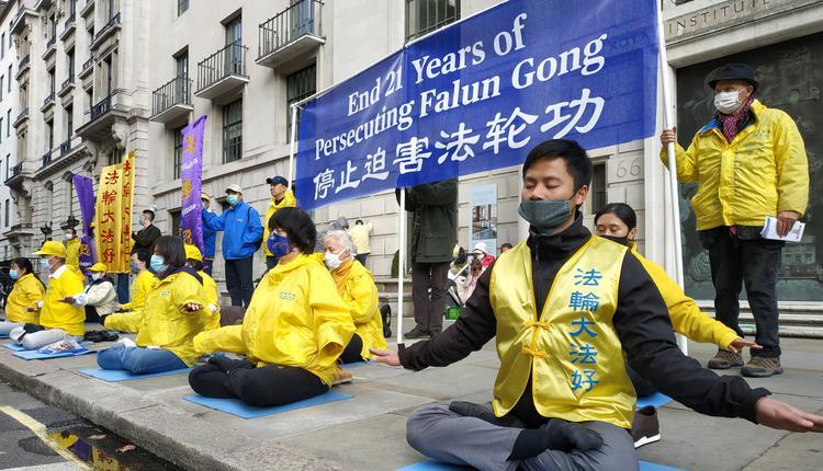英国,法轮功,伦敦,中国大使馆,和平抗议