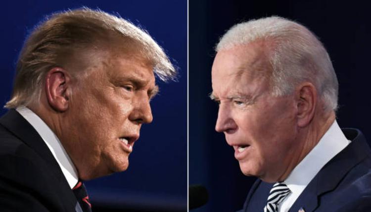 川普(左),民主党对手候选人拜登(右)