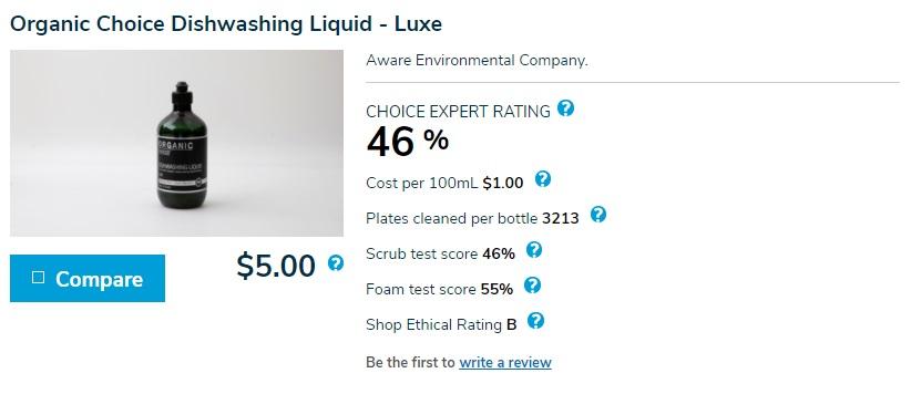 Organic Choice Dishwashing Liquid - Luxe