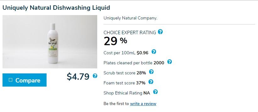 Uniquely Natural Dishwashing Liquid