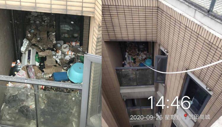 阳台上囤积的垃圾