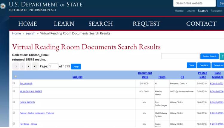 美国国务院公布希拉里-克林顿删掉的三万多份电邮
