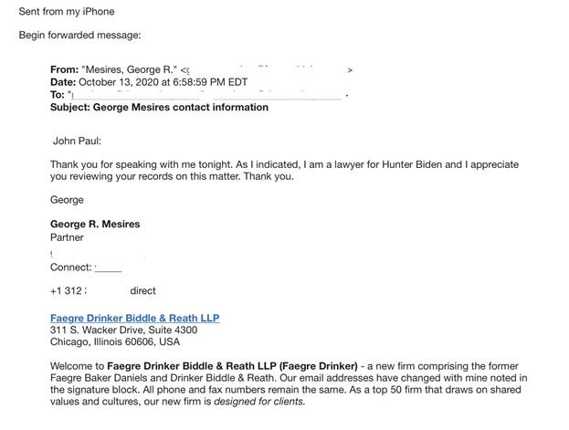 亨特·拜登律师向修理店主以撒索要电脑硬碟的律师函。