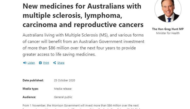 澳洲卫生部文告