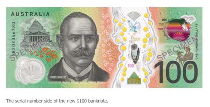 澳新版百元大钞10月29日开始流通