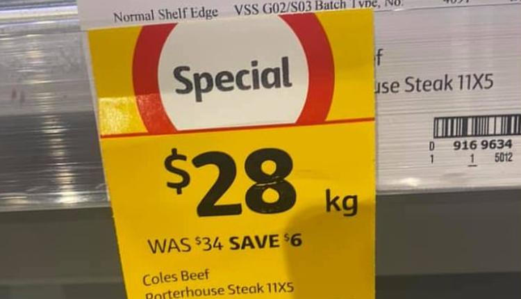 澳洲女子近日在Coles超市购物后获得了免费牛排