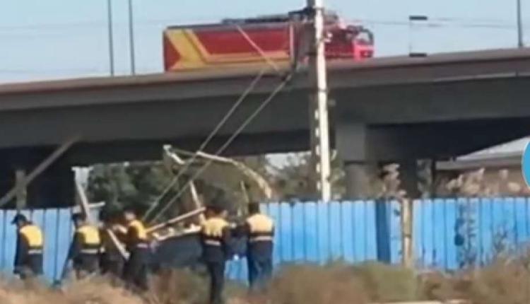天津滨海新区铁路桥坍塌