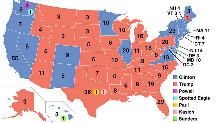 2016年美国总统大选最终的选举人票地图