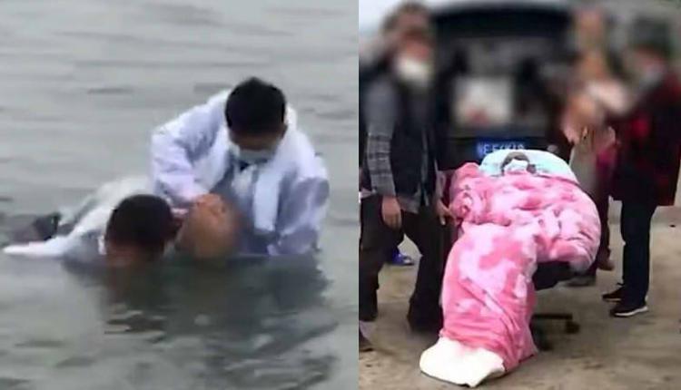 """50岁肺癌晚期男子被背长江中""""浸泡治病"""""""