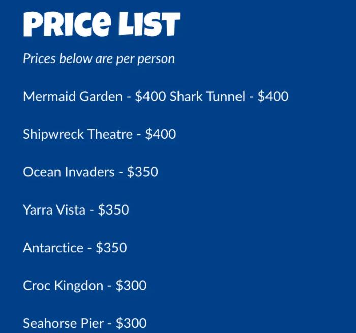墨尔本海底餐厅的套餐价格表