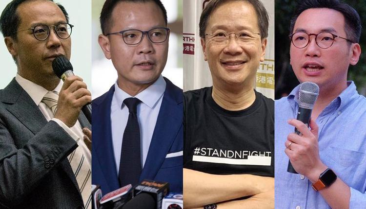 梁继昌(左起)及公民党的郭荣铿、郭家麒、杨岳桥