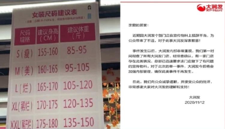 近日,一张大润发商场门口的尺码建议表走红网络