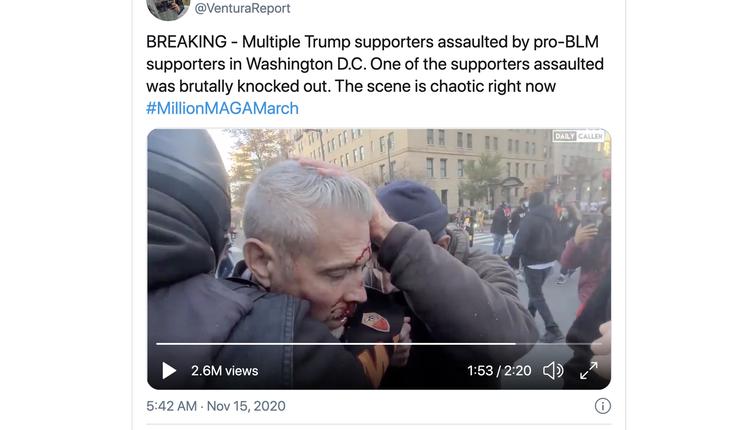 一名川普支持者遭到反川普者袭击