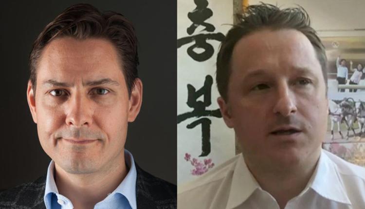 加拿大公民康明凯(左)及斯帕弗在中国被捕