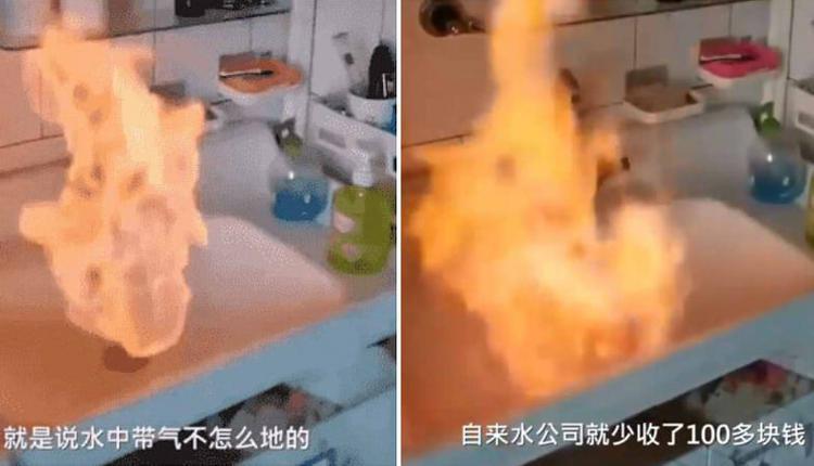 辽宁盘锦居民家中自来水可点燃