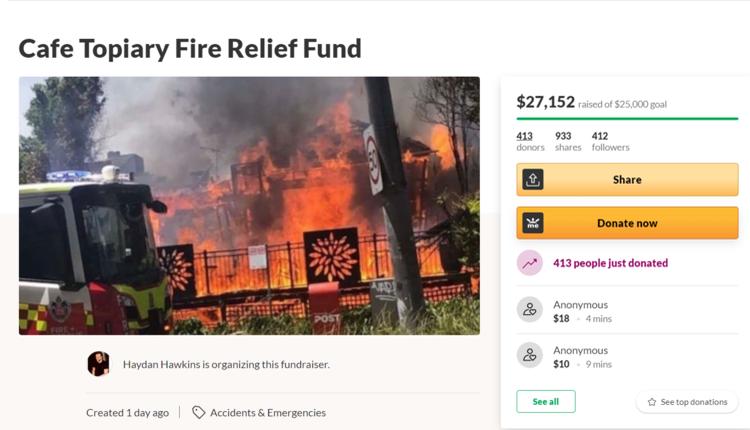 悉尼知名咖啡馆烧成废墟 暖心民众募捐尽一份力