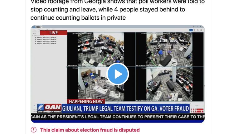 川普团队放了一段有关于当时一间球馆的监控录像