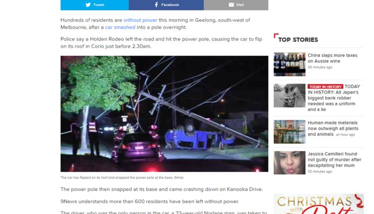 维州男子撞倒电线杆 600多名居民被迫断电