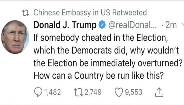 """中国大使馆转发川普推文 外国网友""""这个部门是负责闹笑话的吗?"""""""