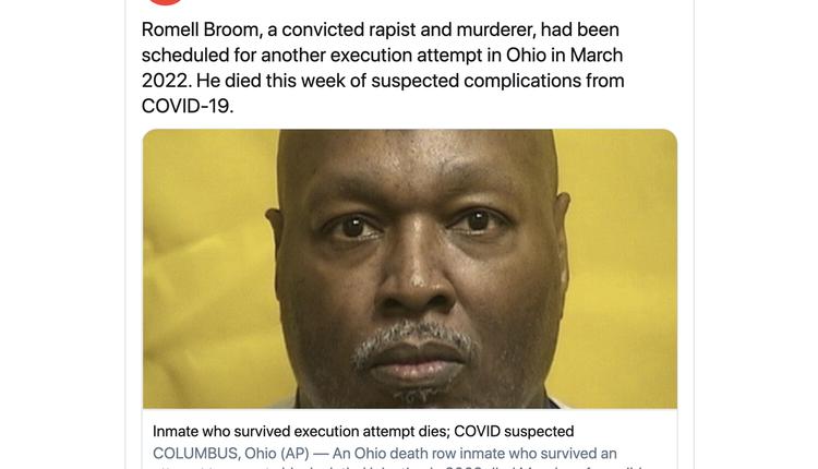 俄亥俄州的一名死囚死于COVID-19肺炎