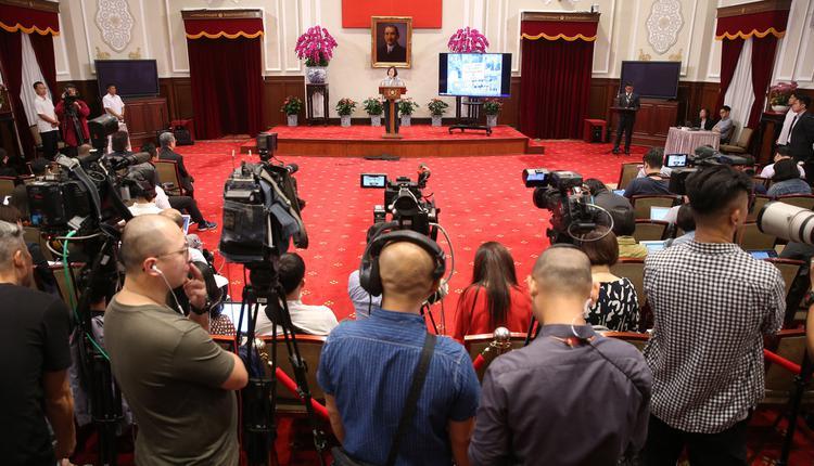 台湾总统蔡英文在总统府举行记者会