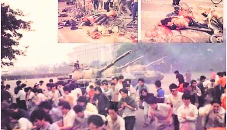 1989年,民众要求民主自由,中共出动军队血腥镇压。