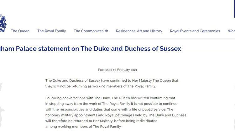 白金汉宫(Buckingham Palace)的声明