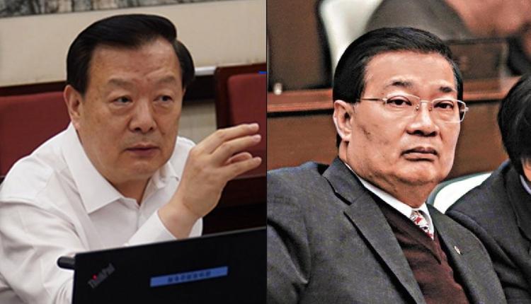 港澳辦主任夏寶龍(左)港區人大代表譚耀宗(右)