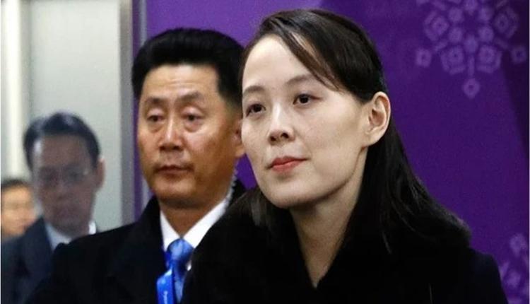 金正恩的胞妹、劳动党第一副部长金与正(右一)