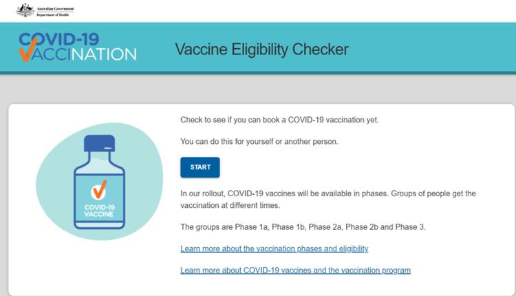 联邦卫生部的预约资格查询网站(Vaccine Eligibility Checker)