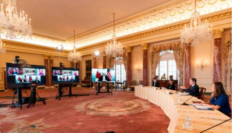 美国国务卿布林肯2021年2月26日与加拿大外长马克·加诺举行视讯会议
